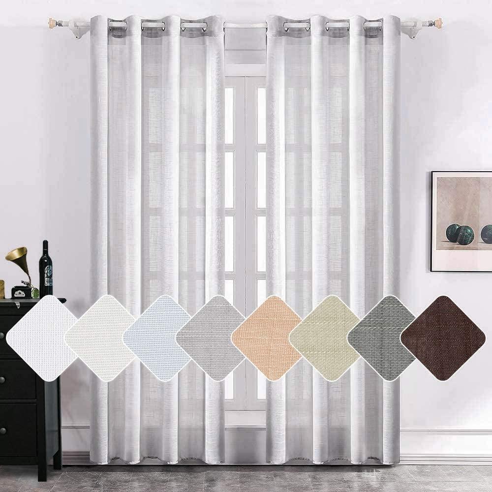 MIULEE 2 Panels Natural Linen Semi Sheer Window Curtains Elegant Solid Light Grey Drapes Grommet Top Window Voile Panels Linen Textured Panels for Bedroom Living Room (52X90 Inch)