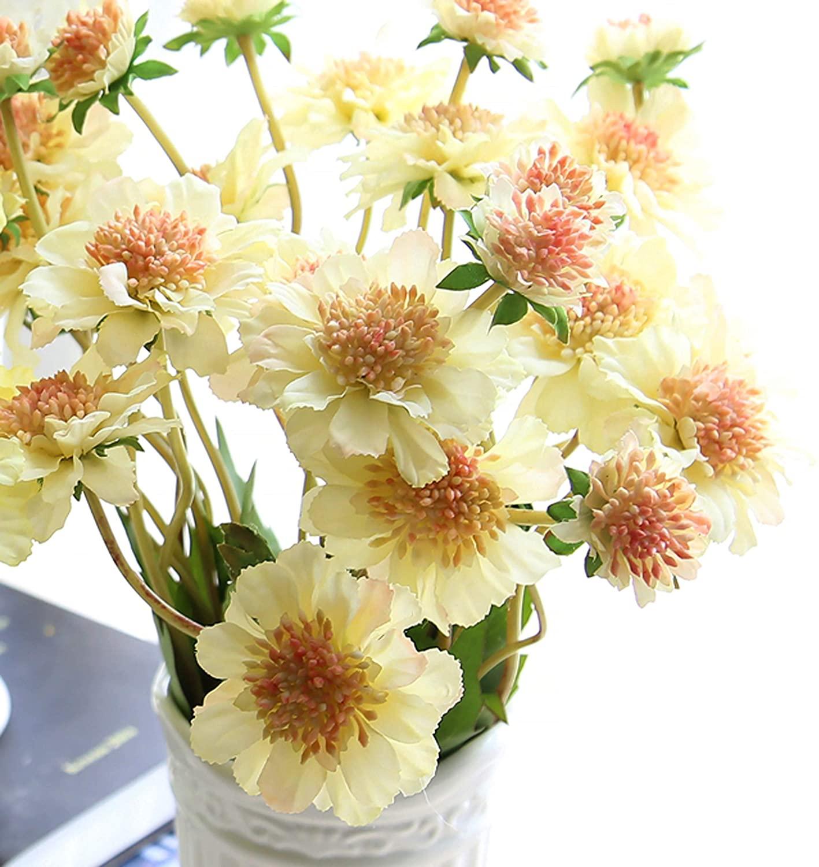 cn-Knight Artificial Flower 6pcs 18'' Long Stem Silk Daisy Mum Flower Faux Coreopsis Fake Calliopsis for Home Décor Housewarming Gift Wedding Bridal Bouquet Bridesmaid Centerpiece(Champagne)