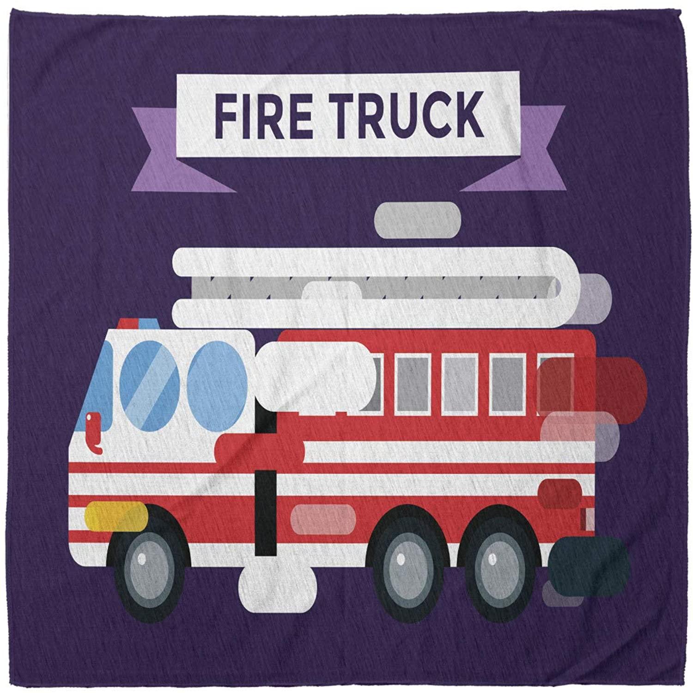 Lunarable Bandana Scarf, Fire Truck Protection Transport, Multicolor