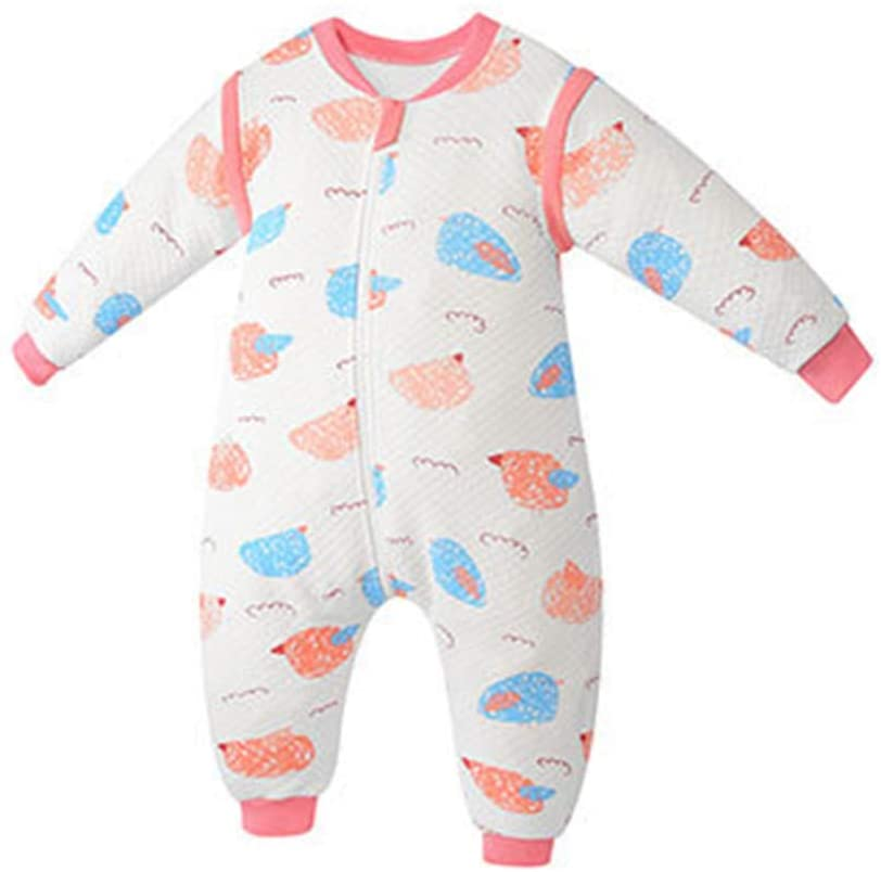 YU-NIYUT Baby Sleeping Bag Wearable Long Sleeve 3 Layers Cotton Kids Sleepwear Sleepsack for Kids Toddler Boys Girls
