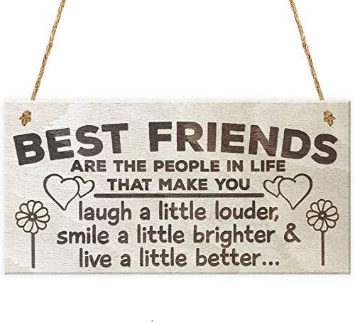 INNAPER Best Friends are The People in Life Wooden Signs Plaque for Craft Home Decor Art Painting Hanging Friendship Signs 10x5 Inches(YBW959)