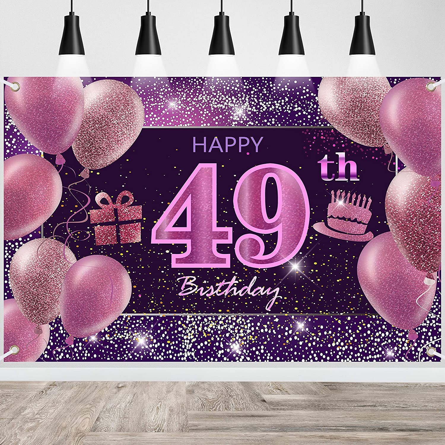IMISI 49th Birthday Decorations for Girls Happy Birthday Banner Pink Decorations for A Party Birthday Backdrop for Women