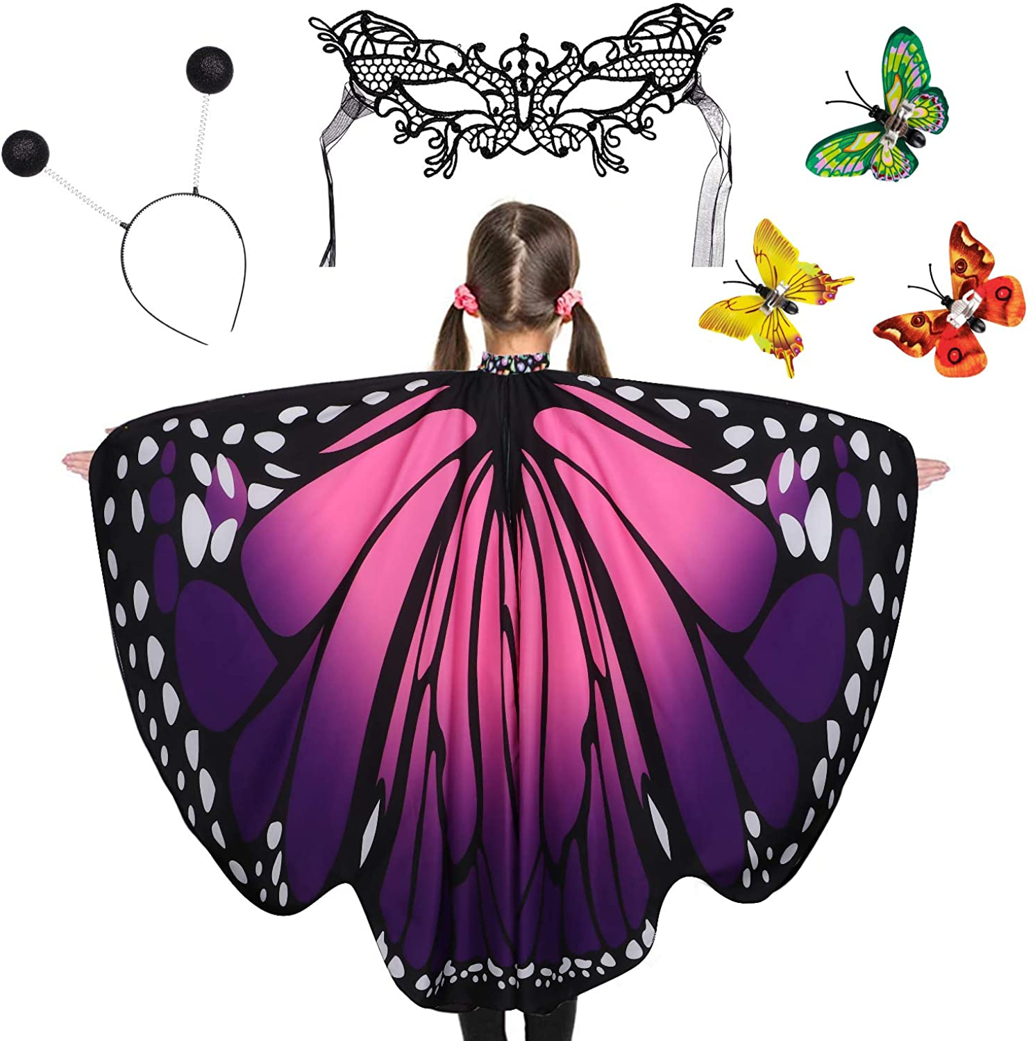 G.C Butterfly Wings Costume Set with Cool Fairy Headband Mask for Kids Halloween Party Festival Rave Dress