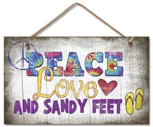 Bensun Nancy Home Decor Plaque Sign Peace Love Sandy Feet Wooden Sign for Outdoor Yard Hanging Sign 5x10 inch