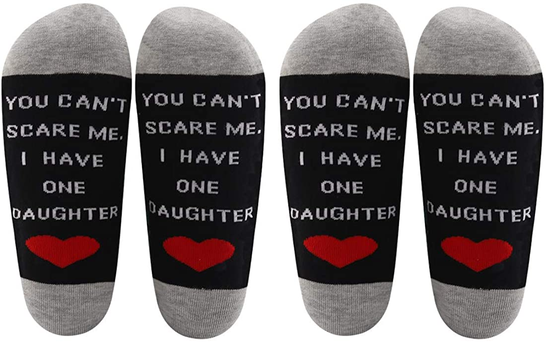 LEVLO Funny Dad Gift Father's Day Gifts You Can't Scare Me I Have One/Two/Three Daughters Cotton Socks Father Daughters Gift