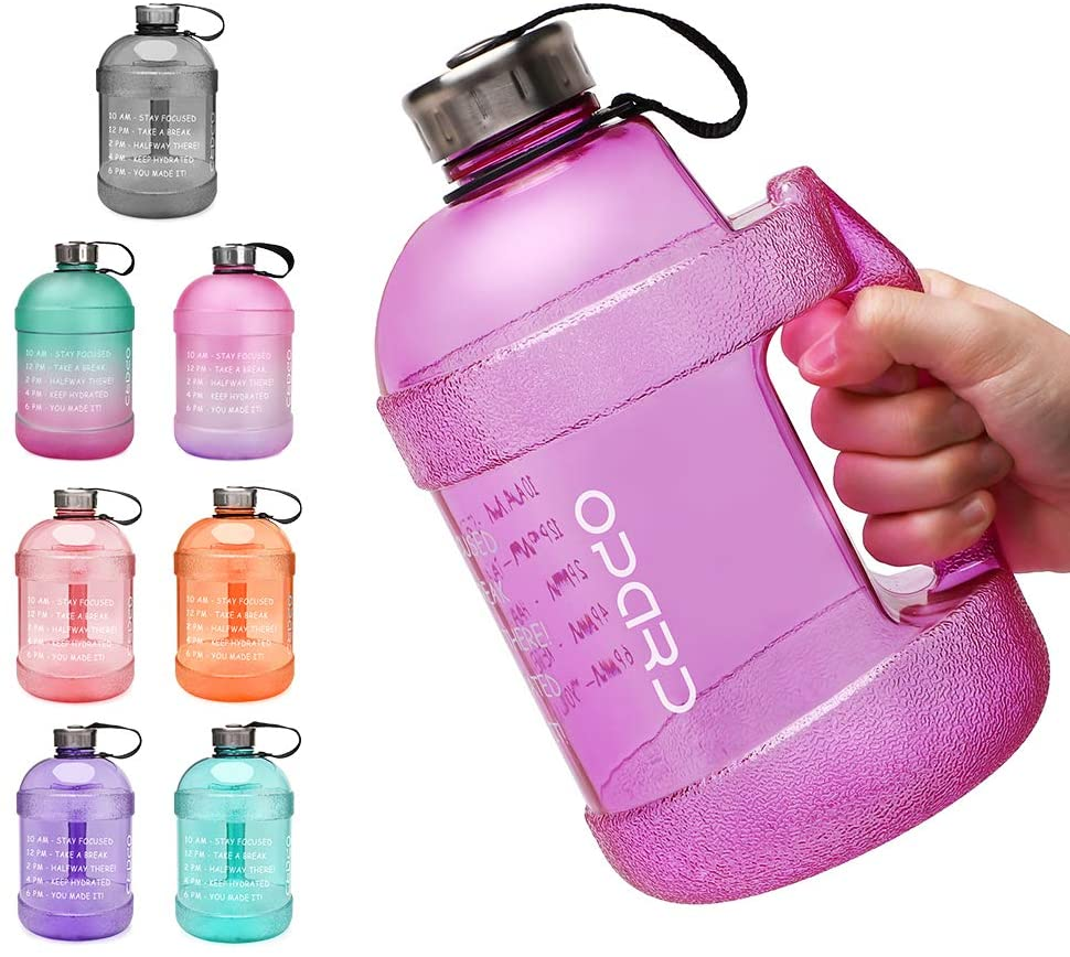 Opard Half Gallon/64 oz Motivational Water Bottle with Time Marker to Drink, BPA Free 1/2 Gallon Reusable Tritan Water jug for Sports Workouts Gym and Outdoor Activity