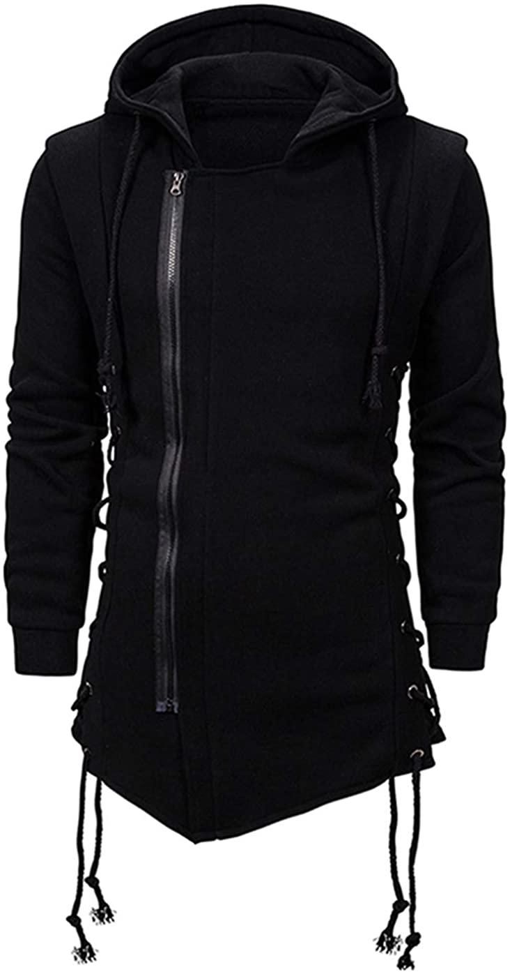 JHDESSLY Men Zipper Assassins Creed Hooded Jacket Side Lace Up Fleece Gothic Hoodie Outwear