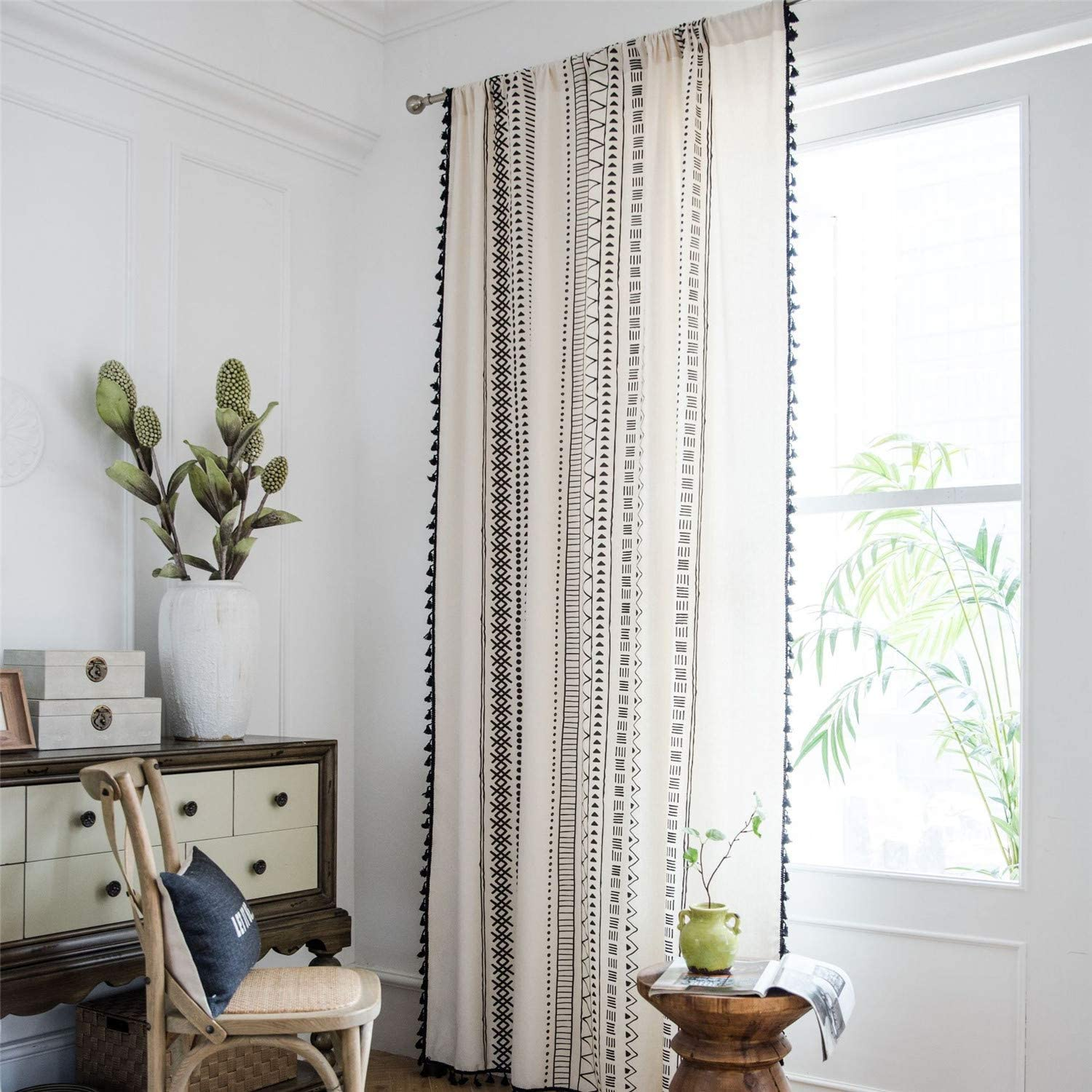 ABREEZE Bohemian Cotton Linen Window Curtains, Semi Blackout Farmhouse Boho Style Drapes Rod Pocket Window Curtain Panel with Tassels for Living Room (Geometric, 59 W x 63 L)