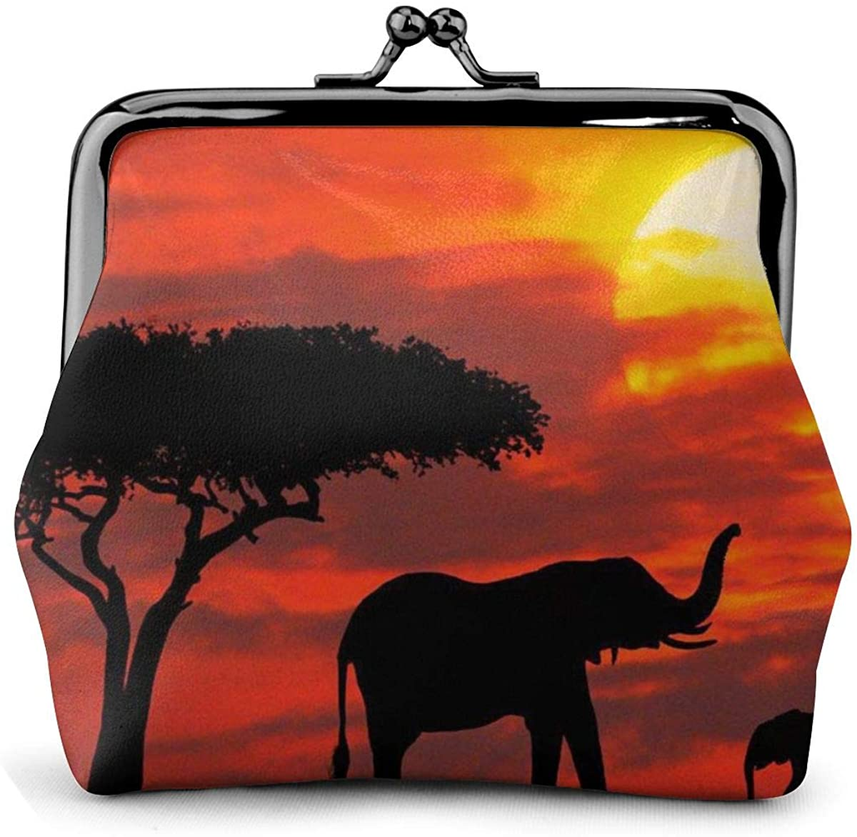 Elephant Sunset Pu Leather Exquisite Buckle Coin Purses Vintage Pouch Classic Kiss-Lock Change Purse Wallets Gift