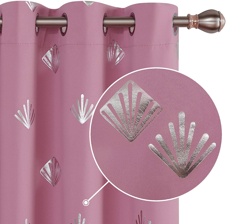 Deconovo Blackout Curtain Foil Printed Shiny Diamond Pattern Curtains 42W x54L inch Pink Grommet Light Blocking Window Drapes for Kids Room 2 Panels