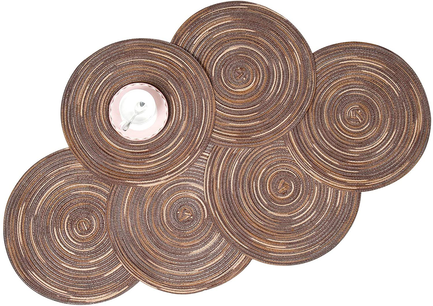 Zupro Round Placemats Set of 6, Braided Cotton Table Mats Heat Resistant Non-Slip Washable,for Fall,Dinner Parties,BBQs,Christmas Parties and Everyday Use(Rainbow-Brown)