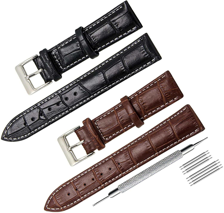 CIVO 2 Packs Genuine Leather Watch Bands Top Calf Grain Leather Watch Strap 16mm 18mm 20mm 22mm 24mm for Men and Women (18mm, Black/Dark Brown(White Stitching))