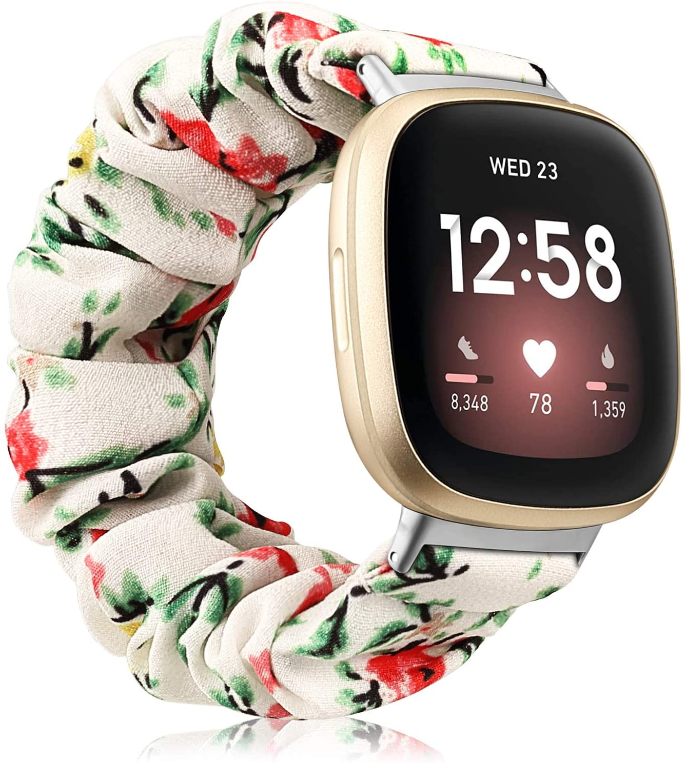 Fintie Band Compatible with Fitbit Versa 3 / Fitbit Sense, Scrunchie Bands Cloth Soft Pattern Printed Elastic Fabric Strap Replacement Bracelet Wristband Accessories, White-Flower
