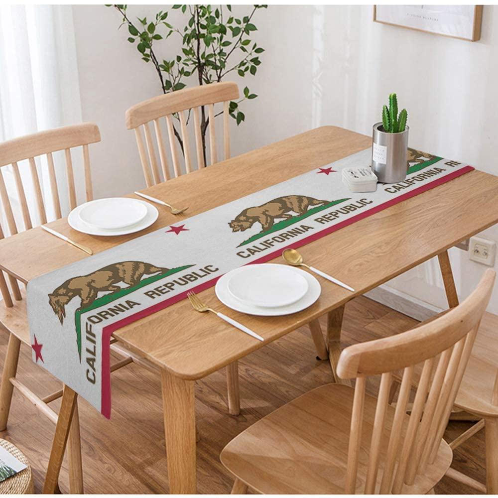 Swono Flag Table Runner,State of California Republic Flag for Bear and Star Design Table Runner Cloth Cotton Linen for Kitchen Coffee/Tea Table Dinner Room Non-Slip 14