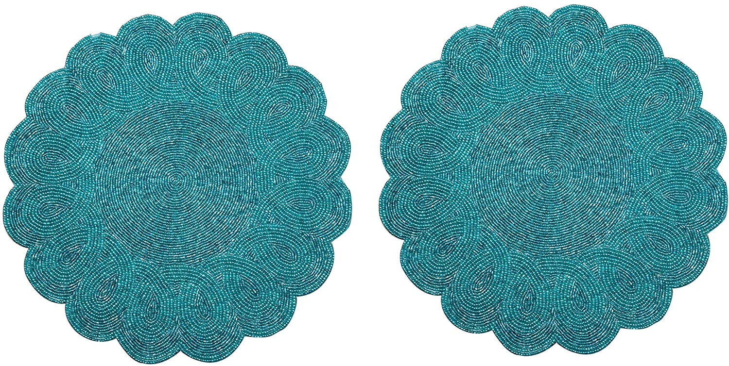 Light & Pro Beaded Placemat Set of 2 - Scalloped Round Hand Beaded Charger Placemat - Teal - 13 Inch Round - Hand Made by Skilled artisans - A Beautiful complement to Your Dinner Table décor