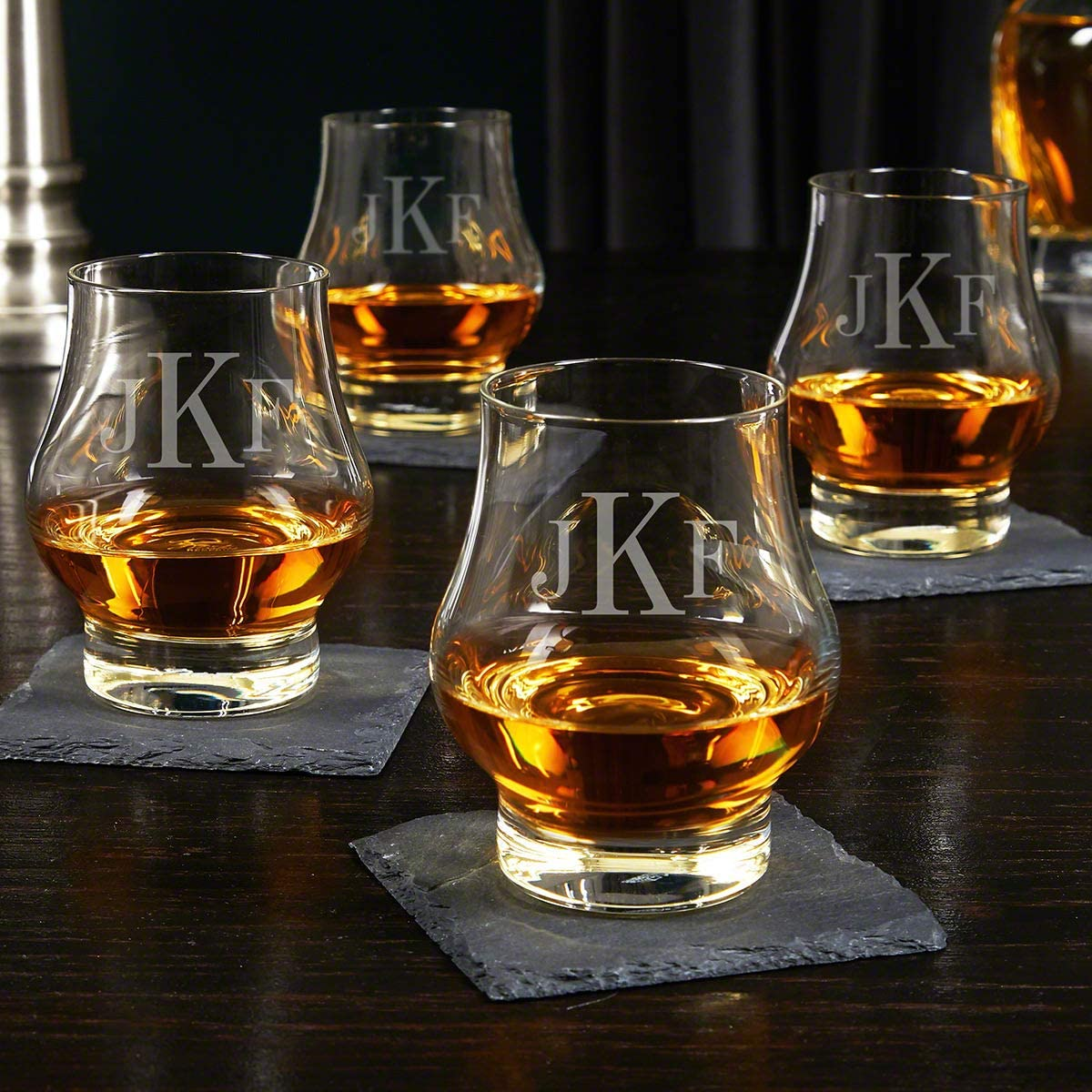 Classic Monogram Custom Wescott Double Snifter Whiskey Tasting Glasses Set of 4 (Personalized Product)