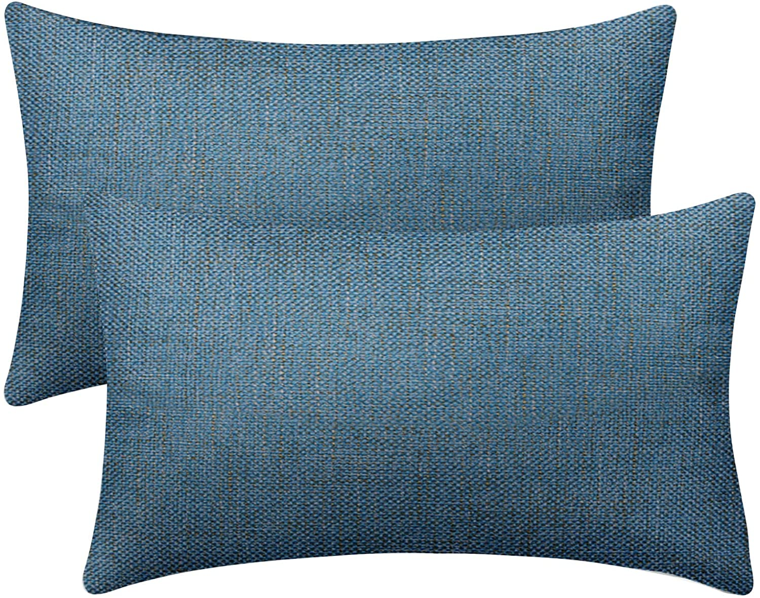 Sinpooo Set of 2 Cotton Linen Throw Pillow Covers Decorative Square Pillowcase Farmhouse Cushion Cover for Sofa Bedroom Car 12 x 20 Inch