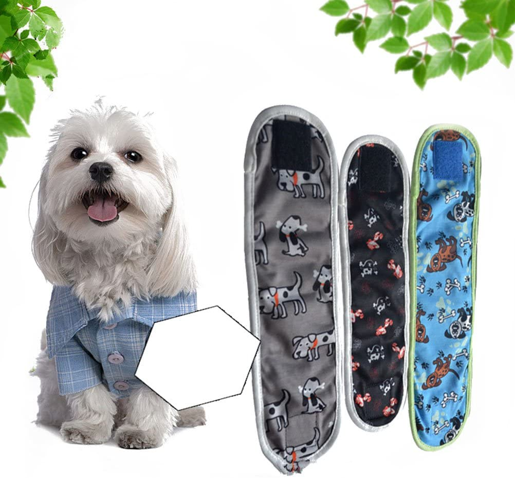 UEETEK 3pcs Reusable Dog Diapers and Belly Bands for Small Male Boy Dog Puppy and Female Dog