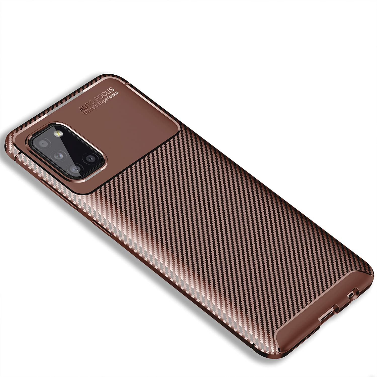 DAMONDY Samsung A31 Case,Carbon Fiber Shockproof Cover, Durable and Protective Case, Drop, Protection Case Compatible with Samsung Galaxy A31 2020 -Brown
