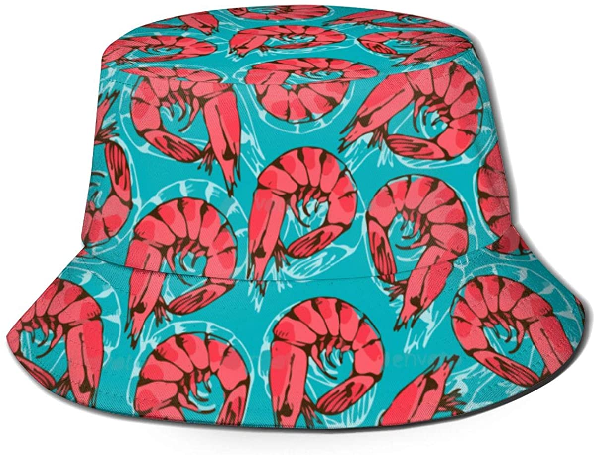 Unisex Outdoor Bucket Hats Wide Brim Sun Protection Fisherman Caps with Silver Falling Sparkles On Light Blue Glitter
