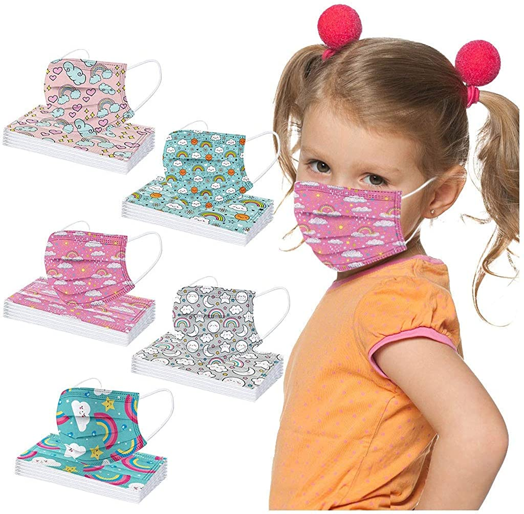 Kids Face Mask Disposable 50pcs Breathable 3 Ply Face Masks for Kids Boys Girls Colorful Cartoon Design School and Daily Use