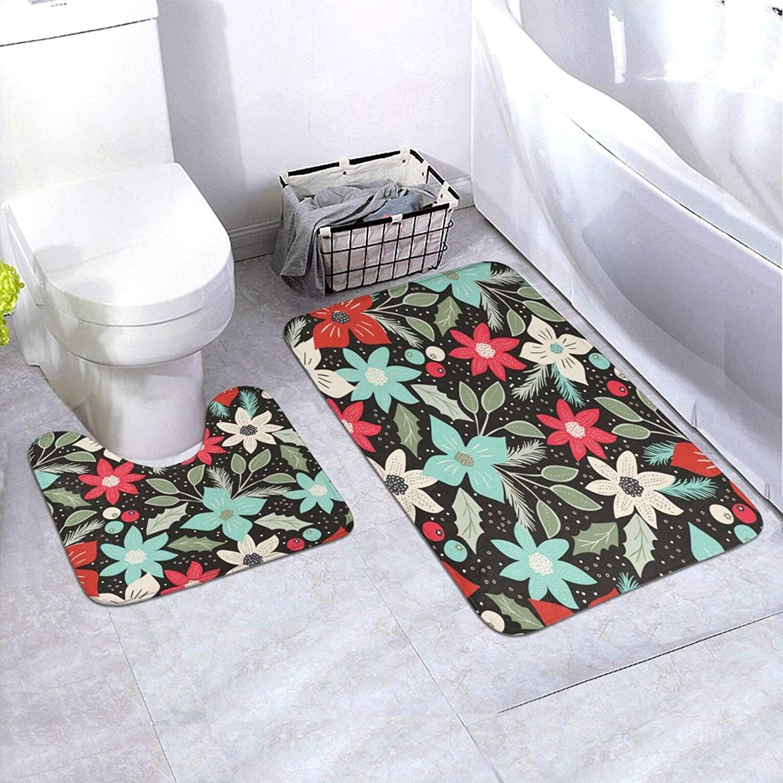 Christmas Bath Rugs Creative Trendy Floor Rugs Bathroom Entrance Corridor Two-Piece Rugs Waterproof Scratch Resistant Easy Clean Mats