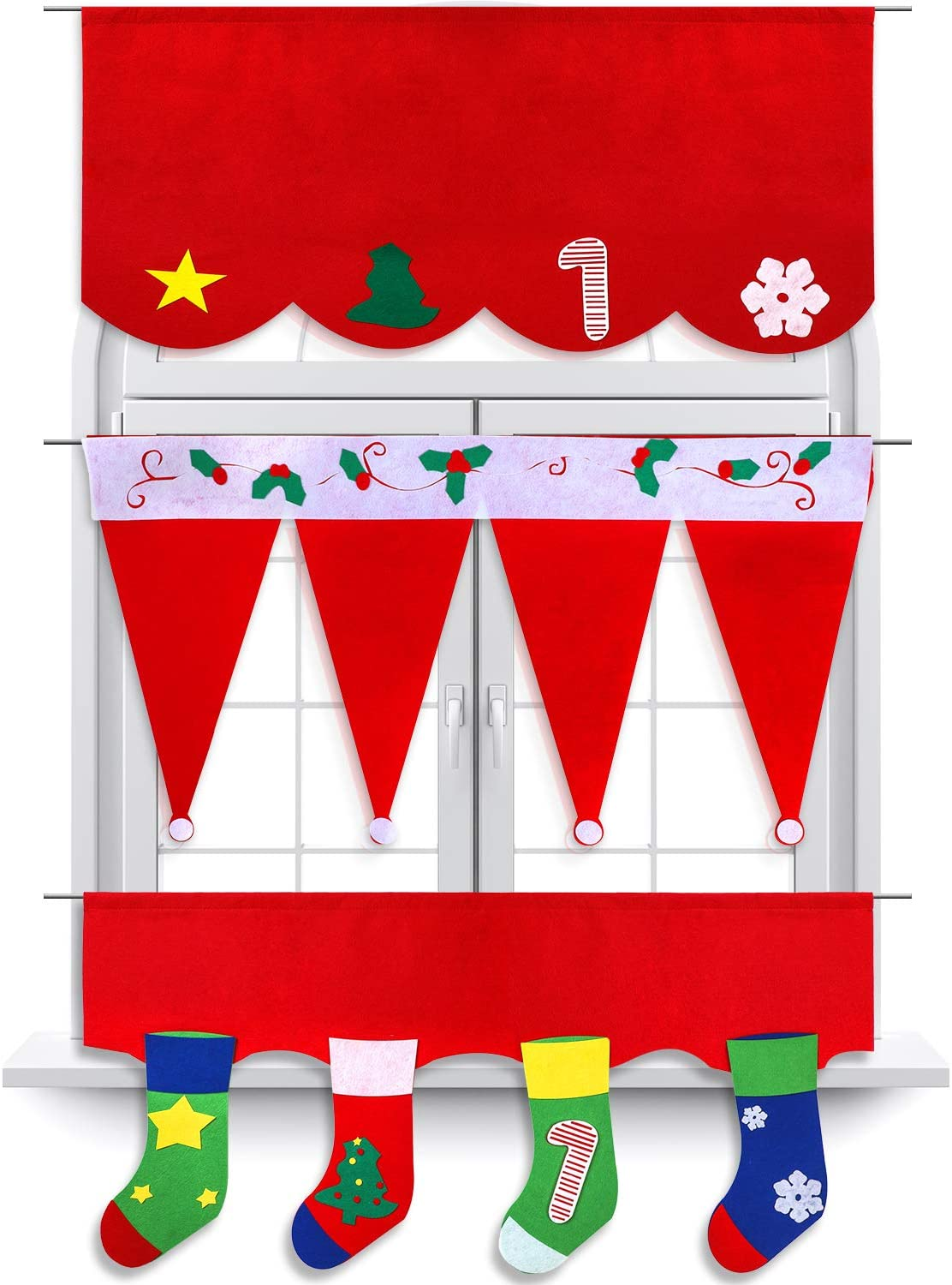 Boao 3 Packs Christmas Curtain Valances Red Kitchen Window Valances Santa Hat Curtain Valance for Christmas Home Kitchen Decoration, 3 Styles
