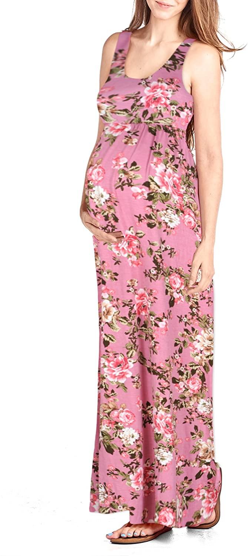 Beachcoco Womens Maternity Flower Printed Maxi Tank Dress (S, Multi 04 Dusty Pink)