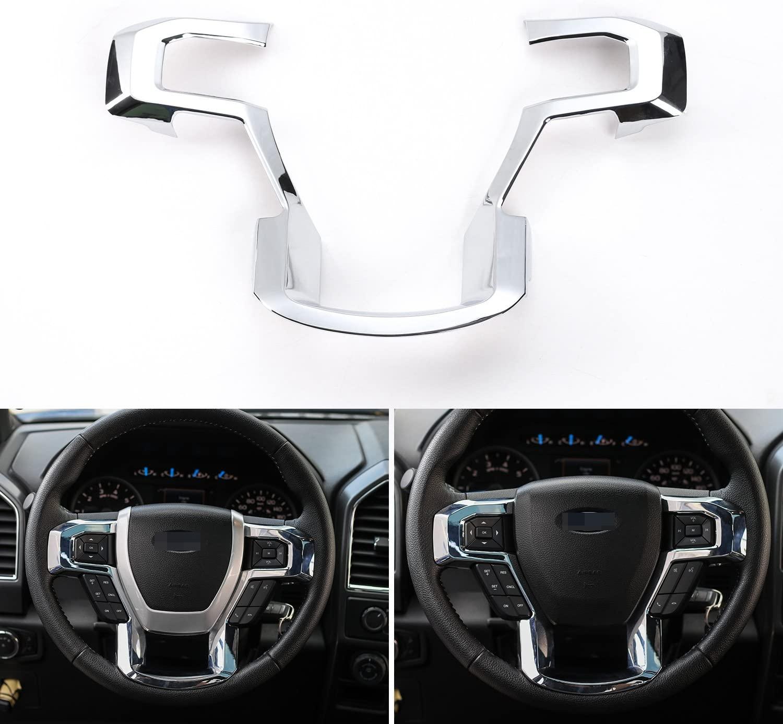 JeCar Steering Wheel Trim Bezel Cover Trim Frame Decorative Interior Accessories for Ford F150 F250 F350 2015 2016 2017 Super Duty (Chrome)