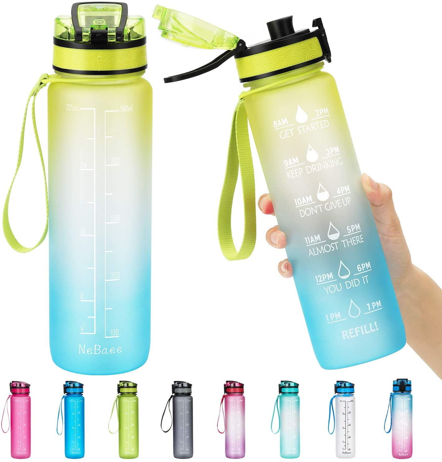 NeBaee 32oz / 24oz Motivational Tritan Water Bottle with Time Marker,BPA-Free,Leak Proof,Fruit Ice Cube Infuser for Fitness Gym and Outdoor Activities (32oz, 32ozYellow-blue)