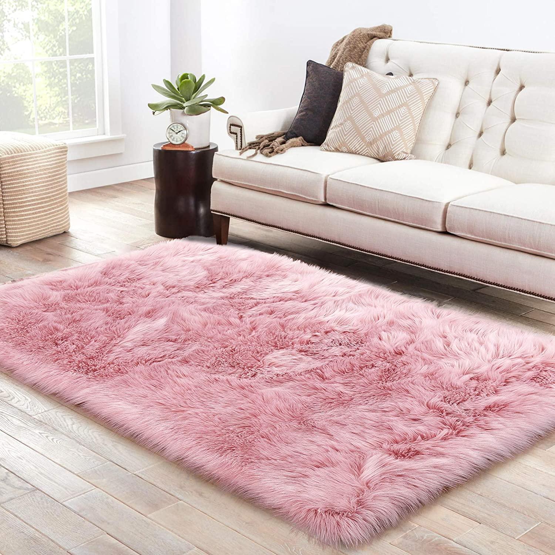 LOCHAS Ultra Soft Fluffy Rugs Faux Fur Sheepskin Area Rug for Bedroom Bedside Living Room Carpet Nursery Washable Floor Mat, 3x5 Feet Pink