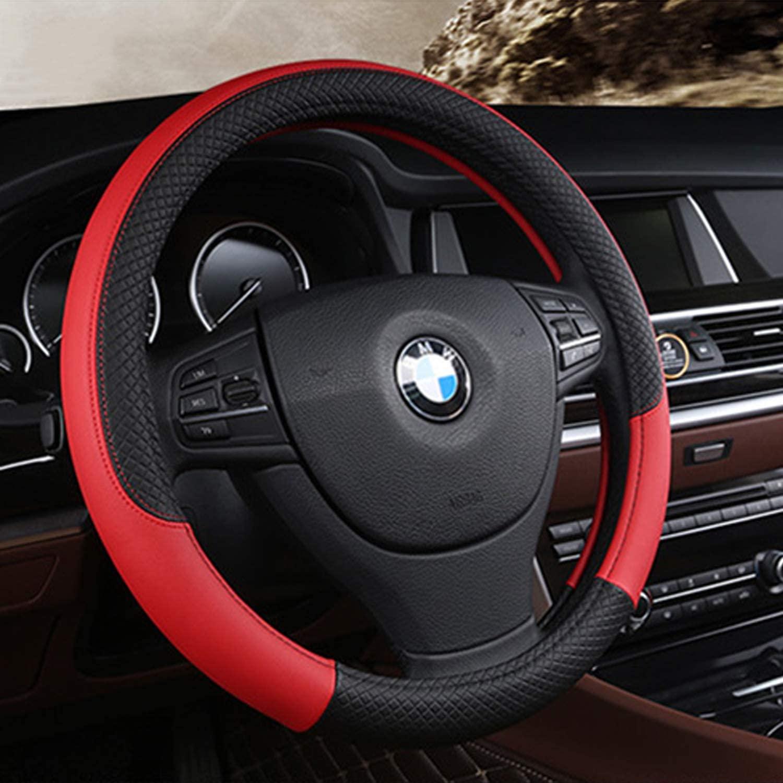 Kowenz Steering Wheel Cover, Microfiber Leather Car Steering Wheel Covers for Sedan, Truck, SUV Universal 15 Inch (RED)