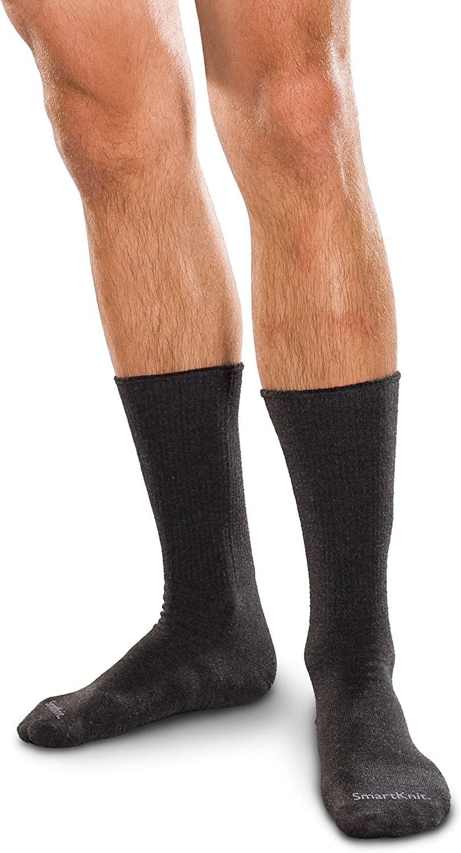 SmartKnit Seamless Diabetic Crew Socks 3 Pack - Medium - Black