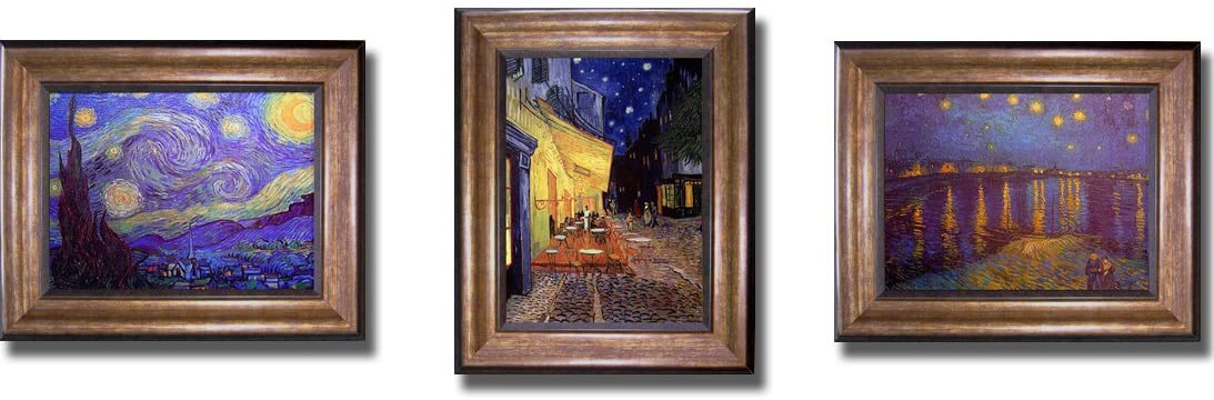 Artistic Home Gallery Starry Night by Van Gogh 3-pc Premium Bronze-Gold Framed Canvas Set (Ready-to-Hang)