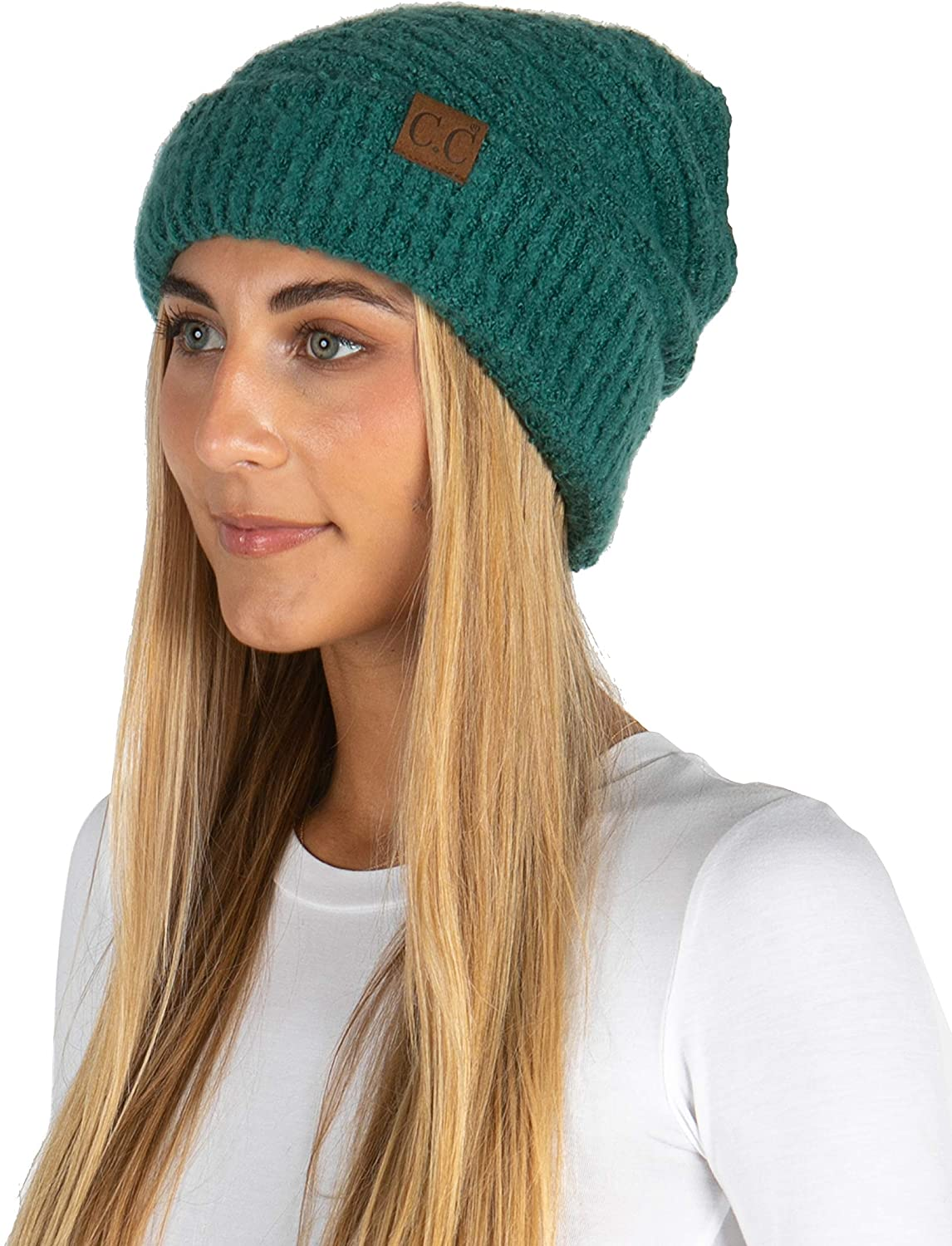 Funky Junque Women's Beanie Super Soft Knit Polyester Warm Winter Boucle Hat Cap