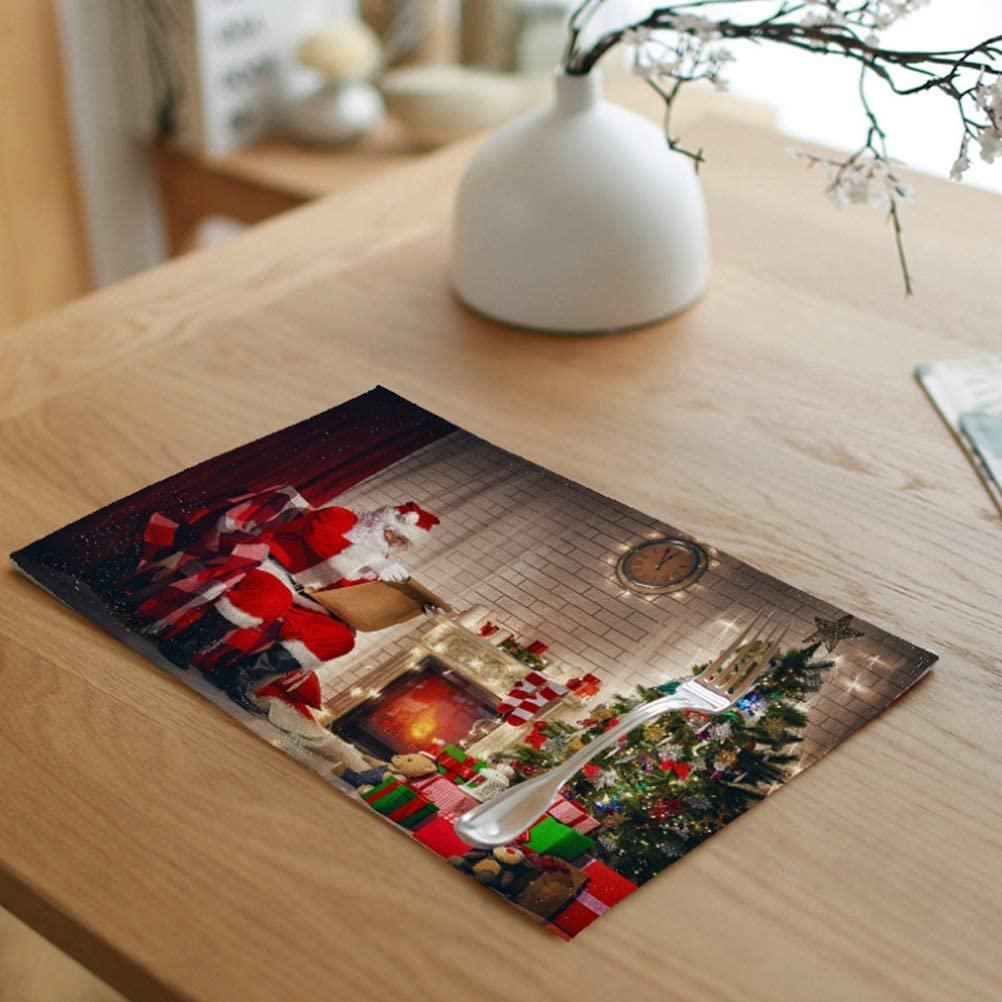 Greengoal Christmas Placemats, Santa Claus Placemats, Table Mats Non-Slip Heat-Resistant Washable, 12