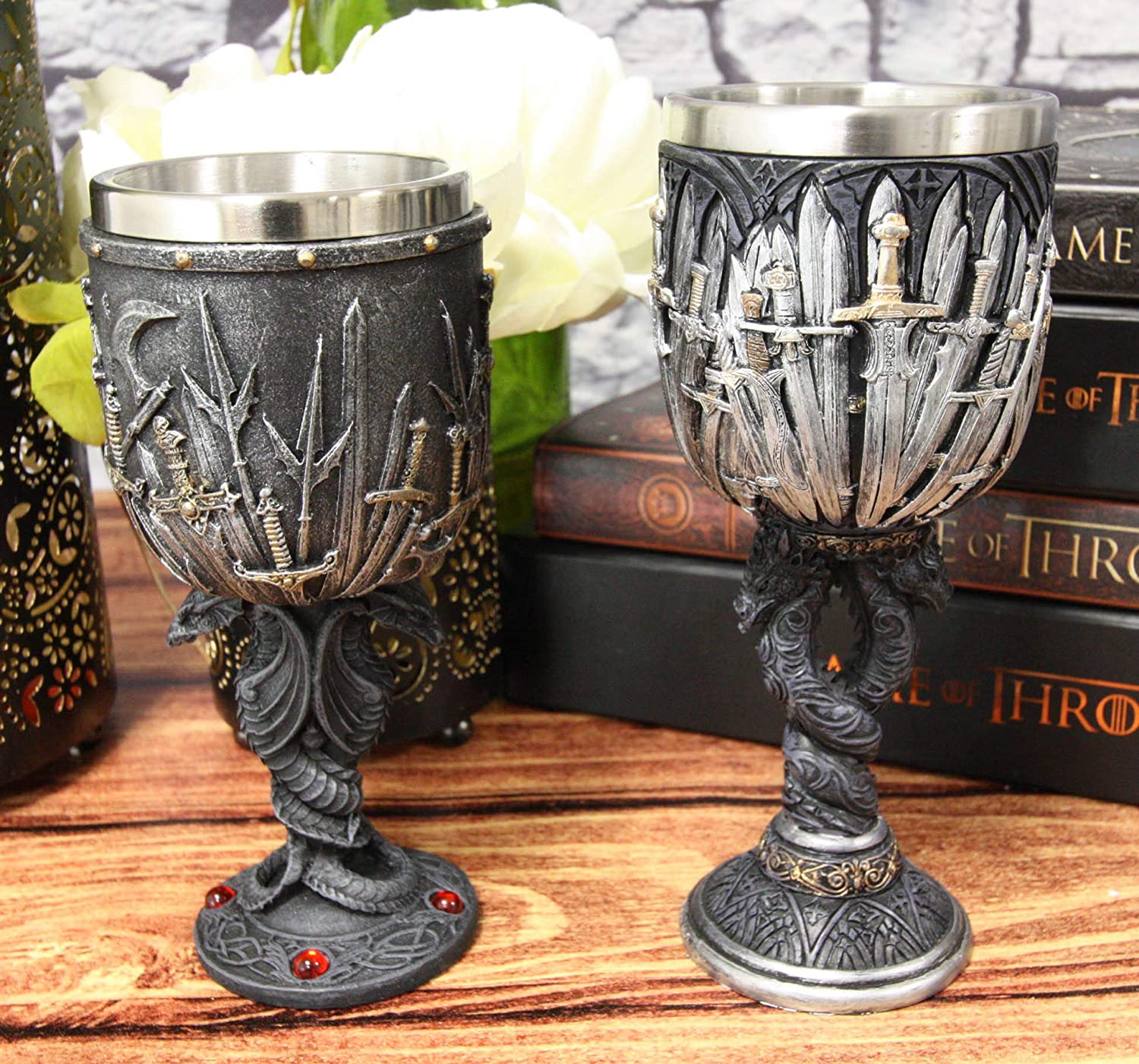 Ebros Set of 2 Medieval Iron Throne Of Valyrian Steel Blade Swords Armory Wine Goblets Chalice With Entwined Dual Dragons Fantasy Alchemy Elixir Of Life GOT Themed Accessory Party Prop Decors