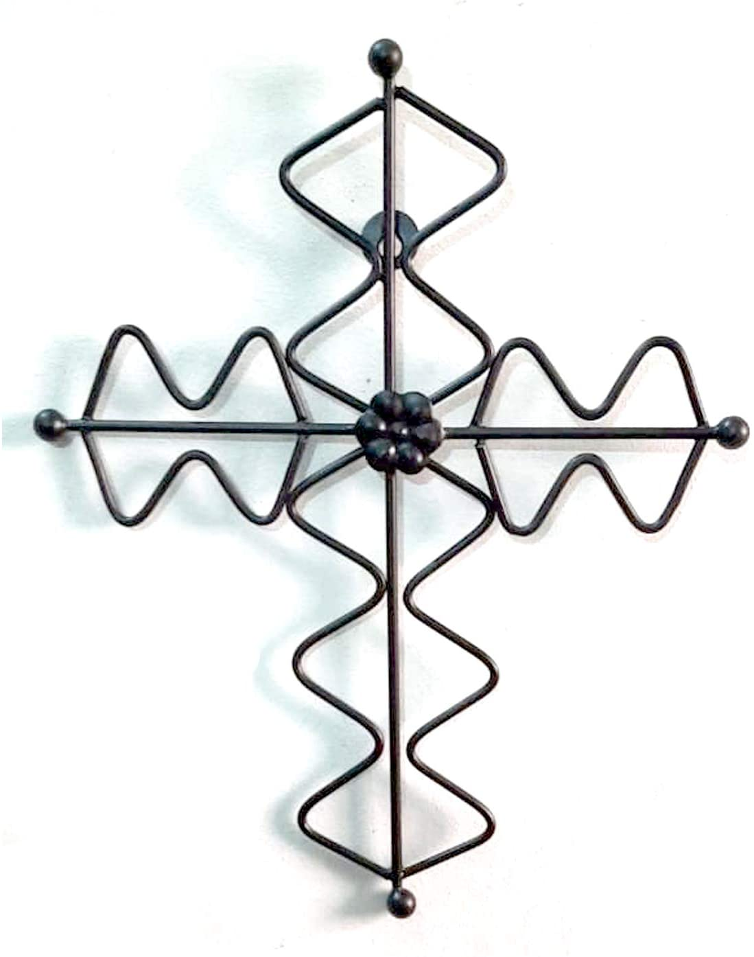 Ardour 13.2 x 9.7 Inch Large Metal Decorative Hanging Wall Cross.Metal Wall Crosses for Home Decor - Black