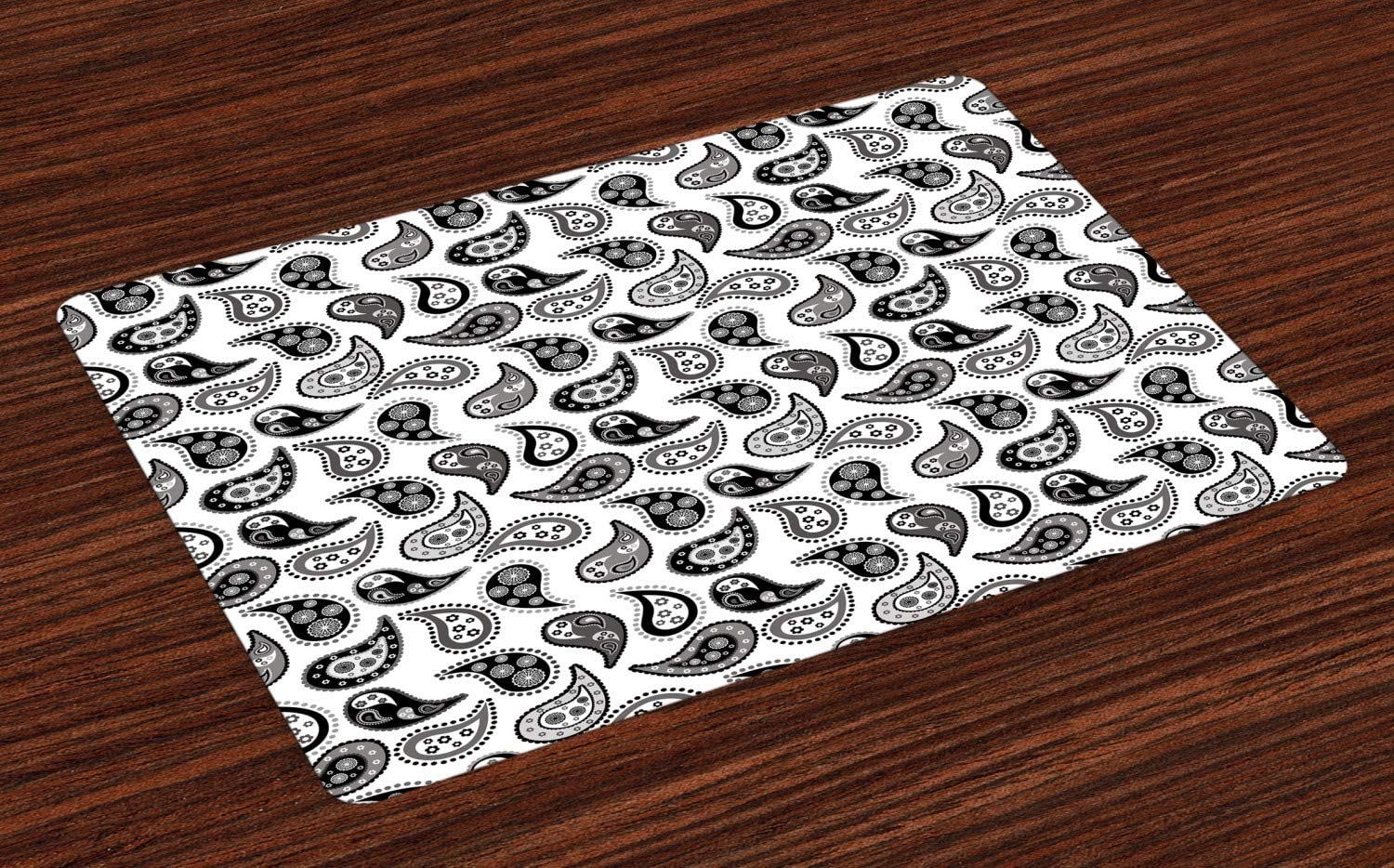 Ambesonne Paisley Place Mats Set of 4, Design in Different Types with Flowers Circles and Tiny Teadrops Detailed Art, Washable Fabric Placemats for Dining Room Kitchen Table Decor, Grey and Black