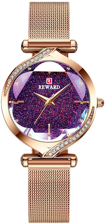 RORIOS Fashion Women Watches Analogue Quartz Watch Ladies Rhinestone Wristwatch with Stainless Steel Mesh Strap Shining Dress Watch for Womens Ladies