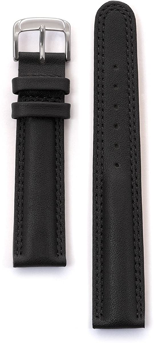 Speidel Genuine Leather Laredo Replacement Watchband - 18mm or 20mm Watch Strap with Double Stitching