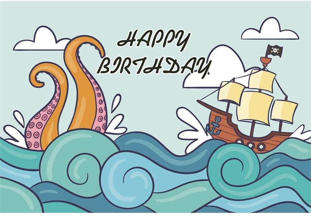 Leyiyi Happy Birthday Backdrop 8x6ft Photography Background Birthday Decor Banner Marine Theme Sailing Boat Hippocampus Cake Smash Boys Girls Photo Booth Video Props