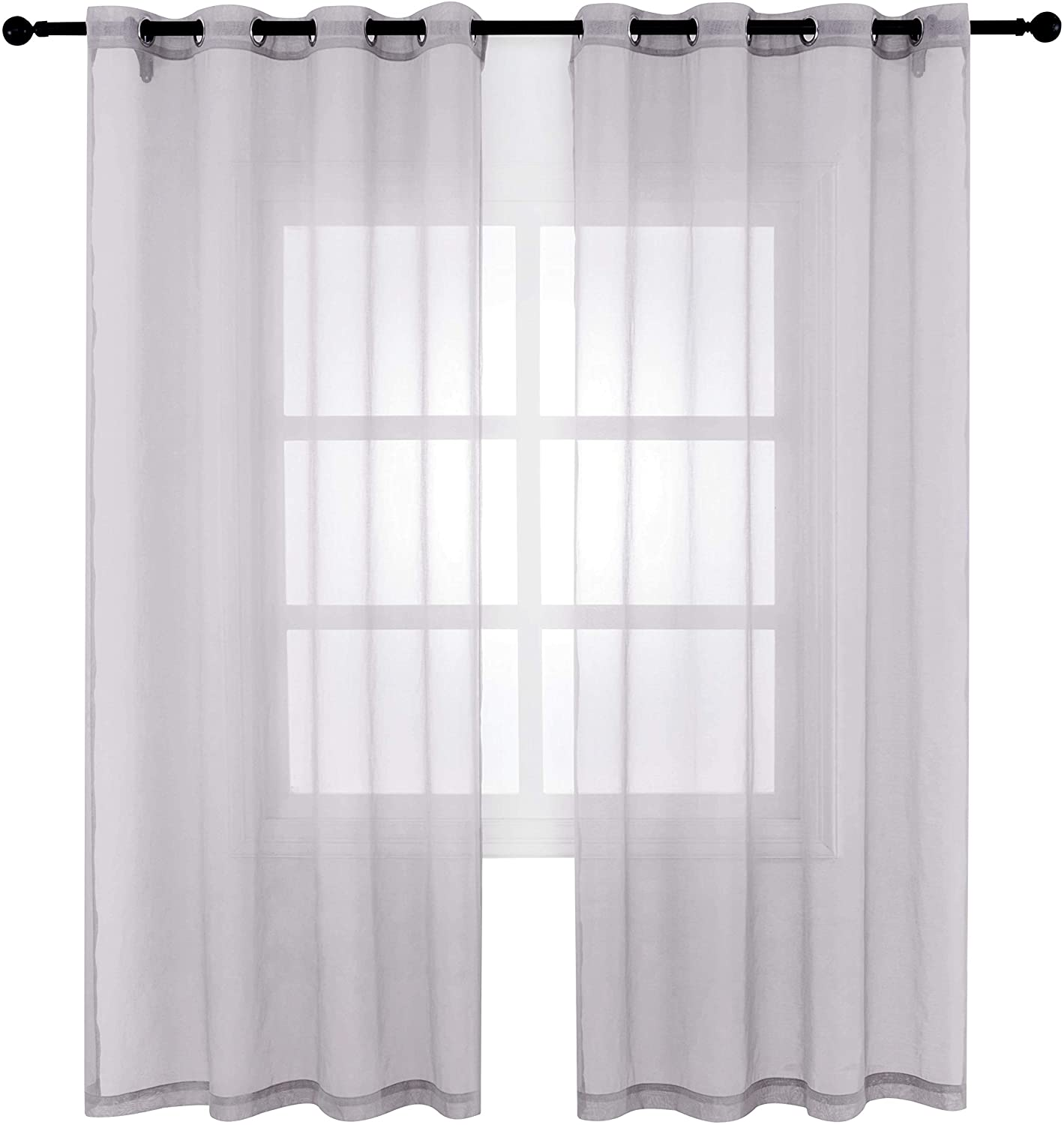 Bermino Faux Linen Sheer Curtains Voile Grommet Semi Sheer Curtains for Bedroom Living Room Set of 2 Curtain Panels 54 x 72 inch Grey