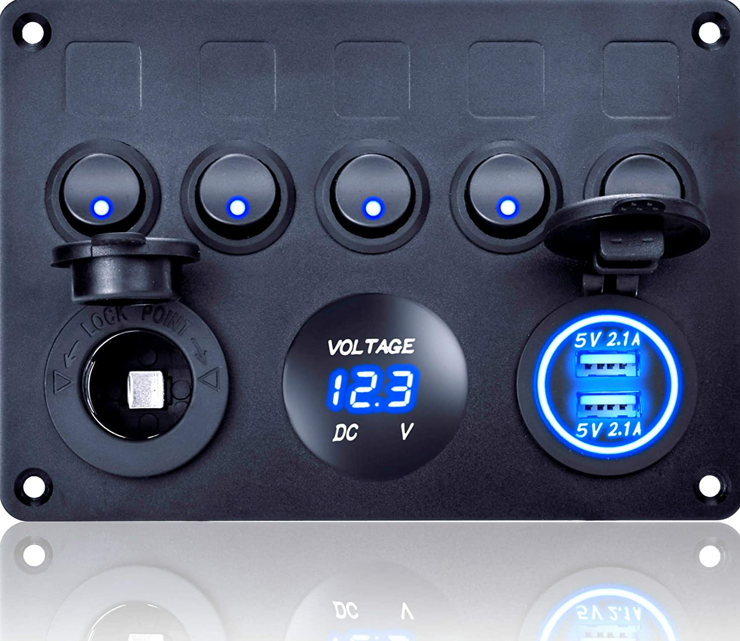 MKING Dual USB Socket Charger 2.1A&2.1A LED Voltmeter/6 Gang Marine Ignition Toggle Rocker Switch Panel for for RV Car Boat Vehicle Truck Trailer Yacht Ship SUV Bus Caravan