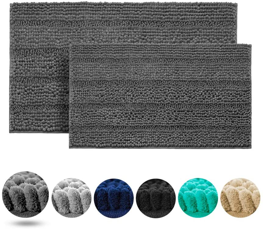 IM Home Extra Soft Grey Bathroom Rugs and Mats Set 2 Pieces Gray, Thick Chenille Bath Rugs Non Slip, Absorbent Plush Shaggy Bath Mats for Bathroom, Tub, Toilet, Shower, Machine Washable