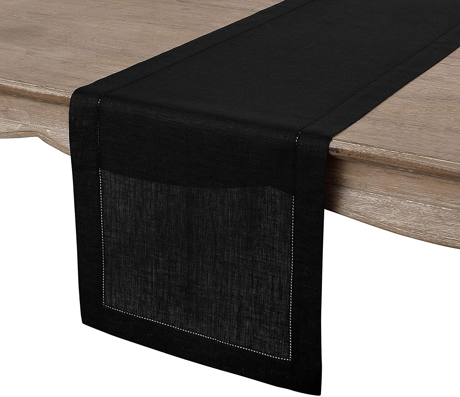Solino Home 100% Pure Linen Hemstitch Table Runner - 14 x 60 Inch, Handcrafted from European Flax, Machine Washable Classic Hemstitch - Black