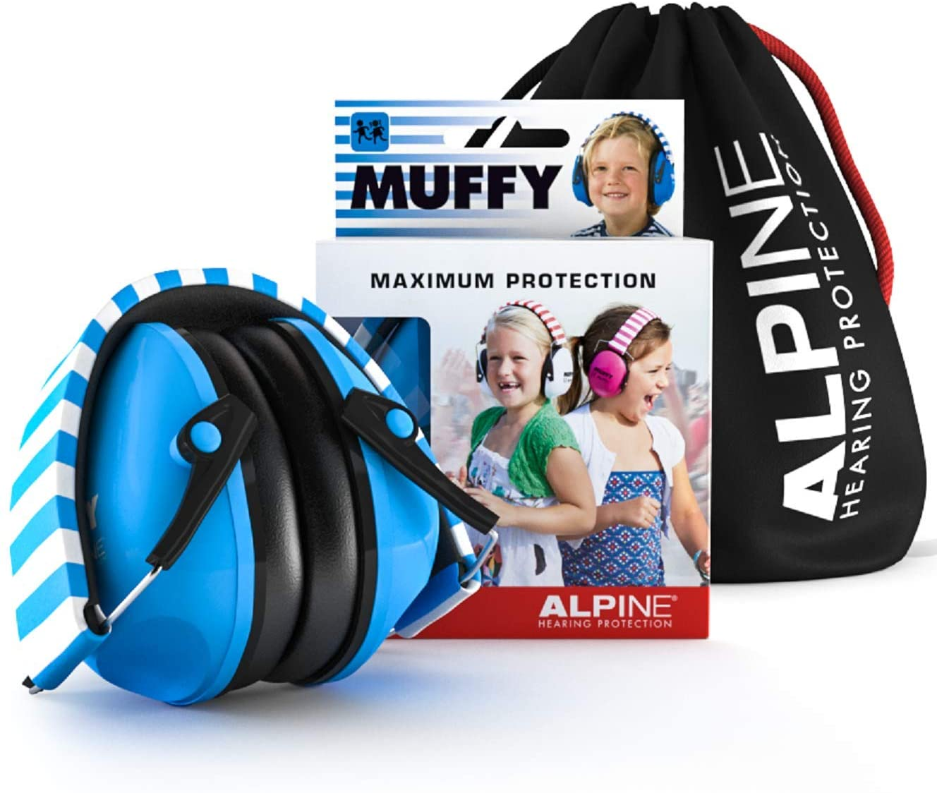Alpine Muffy Ear Defender Kids - Hearing Protection for Children and Toddlers - Earmuffs to prevent hearing damage and reduce noise - Robust and easy to store - Comfortable fit - Blue