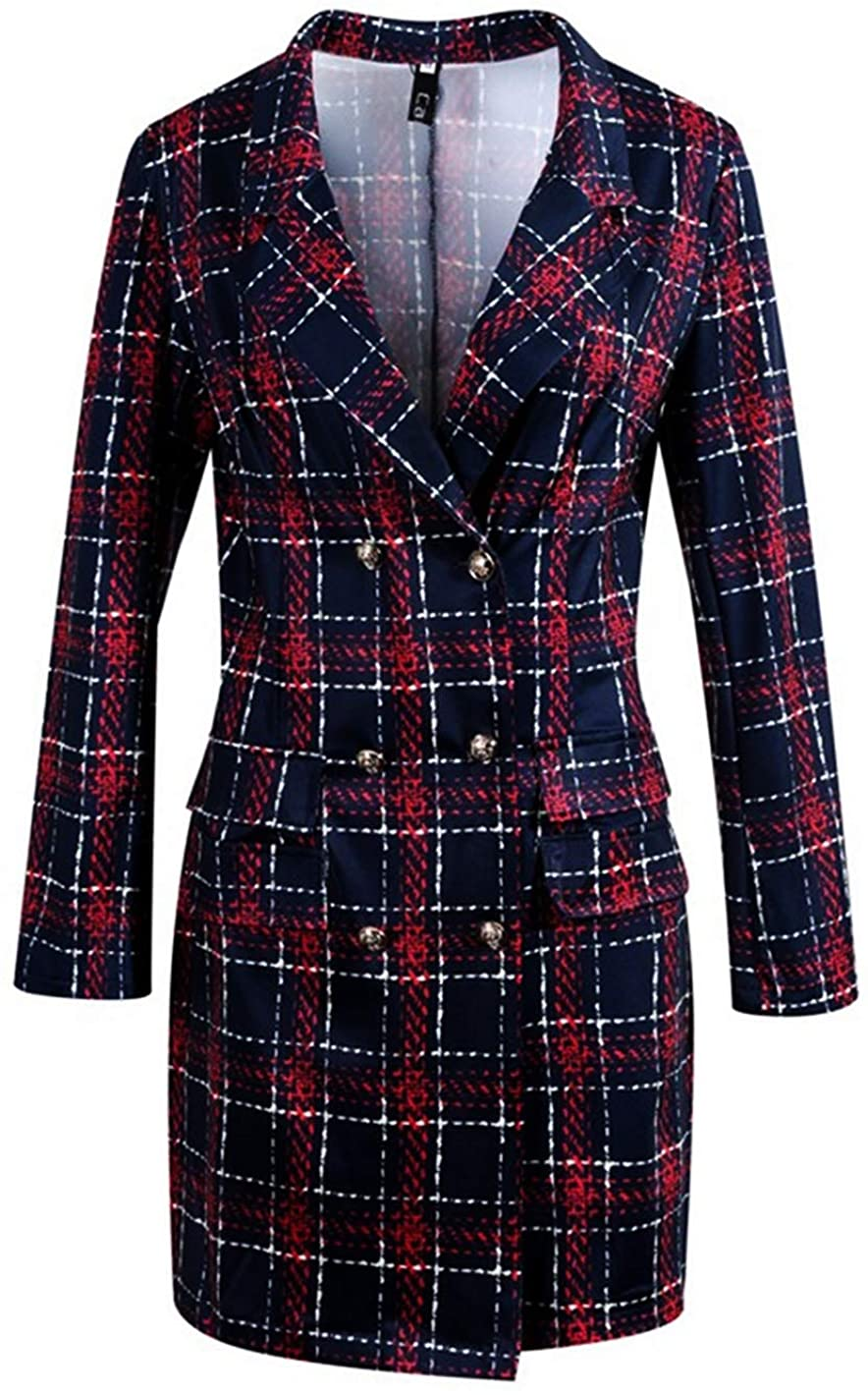 G-Amber Women's Lapel Collar Coat Long Sleeve Plaid Blazer Outerwear Double Breasted Work Office Dresses