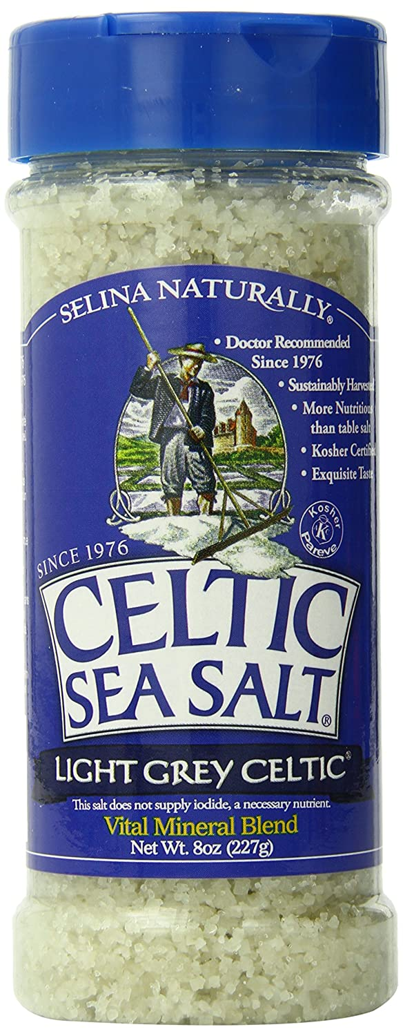 Light Grey Celtic Sea Salt Shaker – Easy to Use, Large Refillable, Reusable Glass Shaker with Additive-Free, Delicious Sea Salt - Gluten-Free, Non-GMO Verified, Kosher and Paleo-Friendly, 8 Ounces