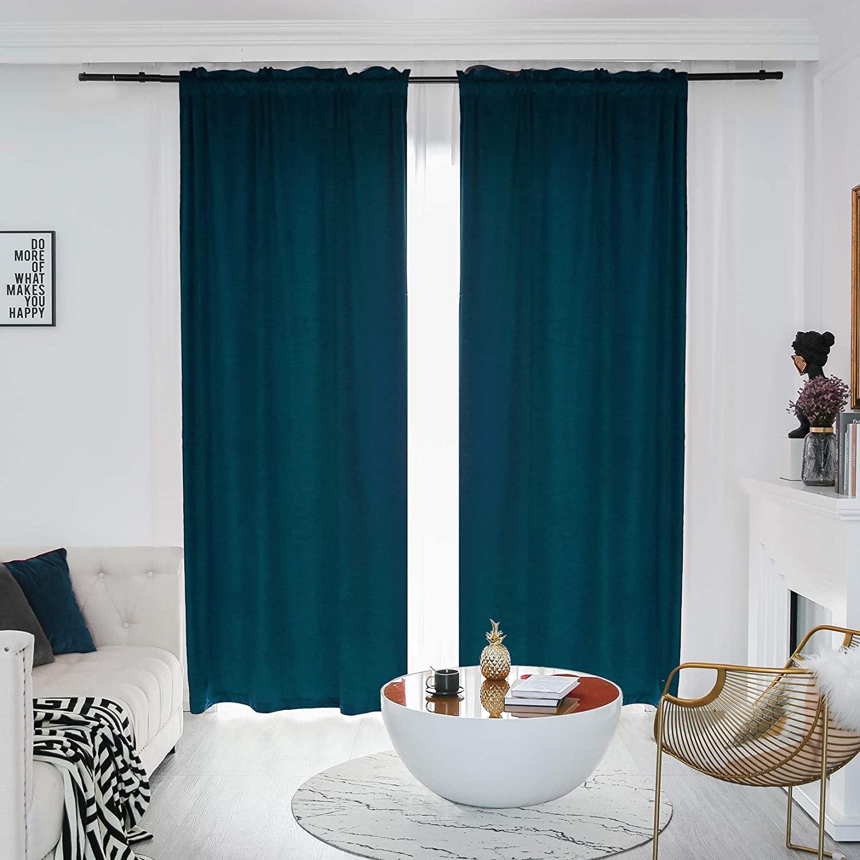 FY FIBER HOUSE Luxury Blackout Velvet Energy Efficient Vintage Curtains Panels Drapes Rod Pocket for Bedroom Living Room Office 52Wx63L Inch 2 Panels Dark Blue